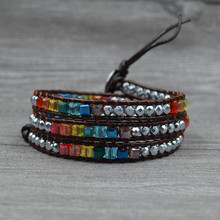 Chakra Bracelet Jewelry Handmade Leather Wrap Multi Color Spare Crystal Beads Natural Stone