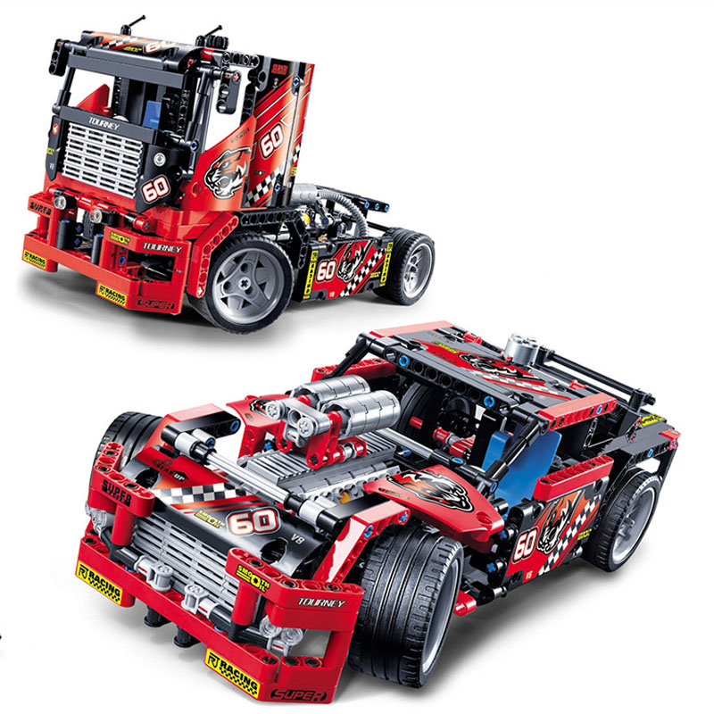 608pcs Race Truck Car 2 In 1 Transformable Model Building Block Sets Decool 3360 DIY Toys Compatible Technic Birthday Gift