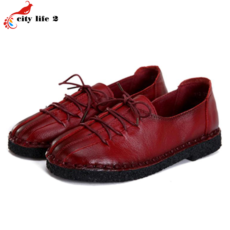 Super Soft Leather Shoes Non Slip Lace Up Retro Mother Soft Bottom Flat Middle Aged font