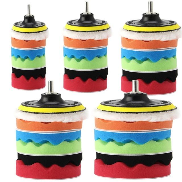 """7Pcs 3/4/5/6/7"""" Car Polisher Polishing Waxing Buffing Woolen&Sponge Pads Kit"""