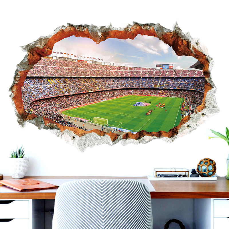 Broken Wall 3D Soccer Field wall stickers for kids baby rooms bedroom home decoration mural poster football sticker art decals|Wall Stickers| |  - title=