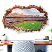 Pegatinas de pared de campo de fútbol 3D para habitación de niños y bebés, decoración del hogar, mural, póster, pegatinas de fútbol, arte