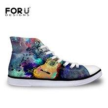 Forudesigns Для Мужчин's вулканическая обувь гитарной музыки на шнуровке с принтом обувь на плоской подошве для мальчиков-подростков с высоким берцем парусиновая обувь стильные обувь Новый