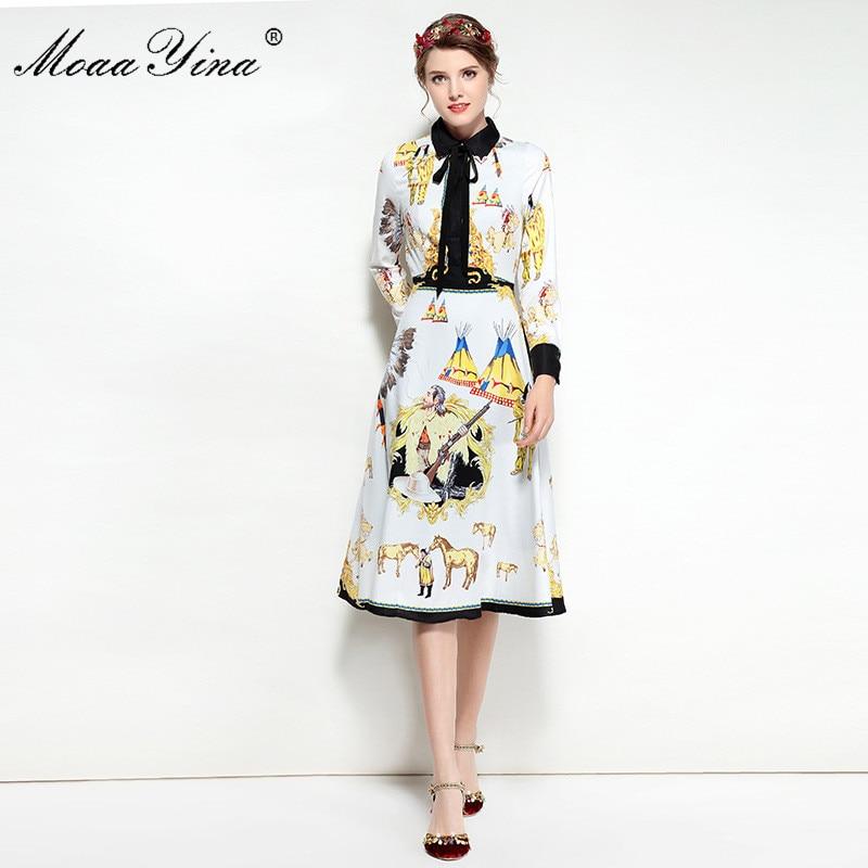 MoaaYina Fashion Designer Runway Dress Spring Women Turn-down collar Ribbon Long sleeve Print Character Slim Dress High quality