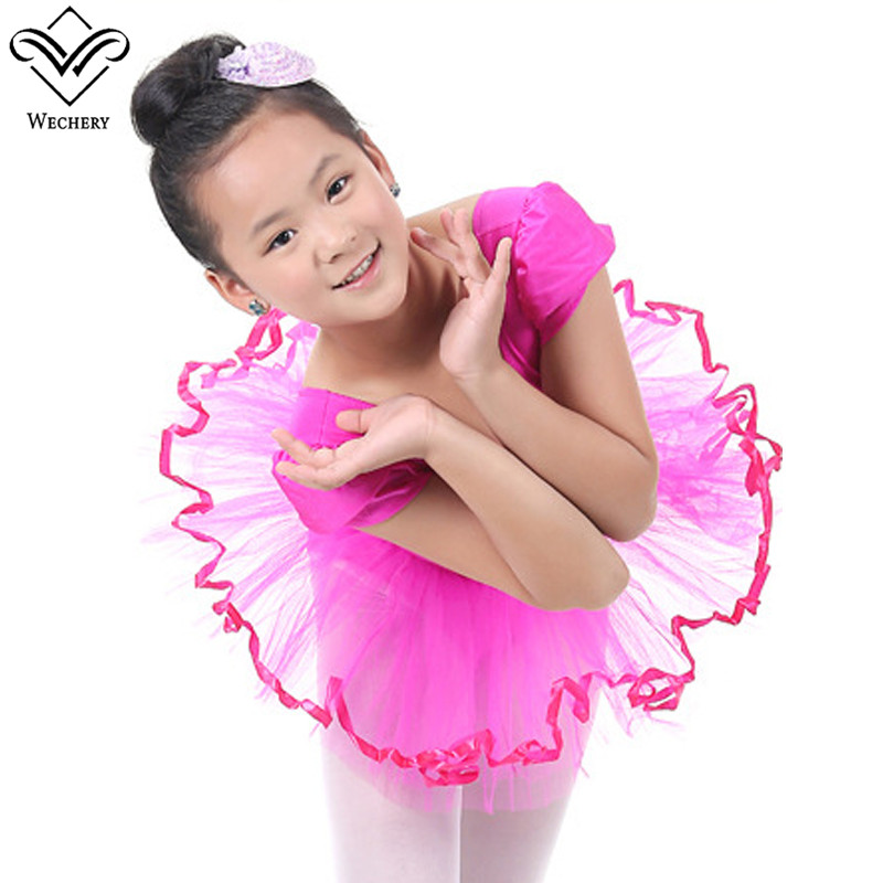 Wechery Gymnastics Ballet Dress Dance Wear Girls Kids Leotard Dancing Dresses Solid Tutu Ballets Clothing Hot Sale