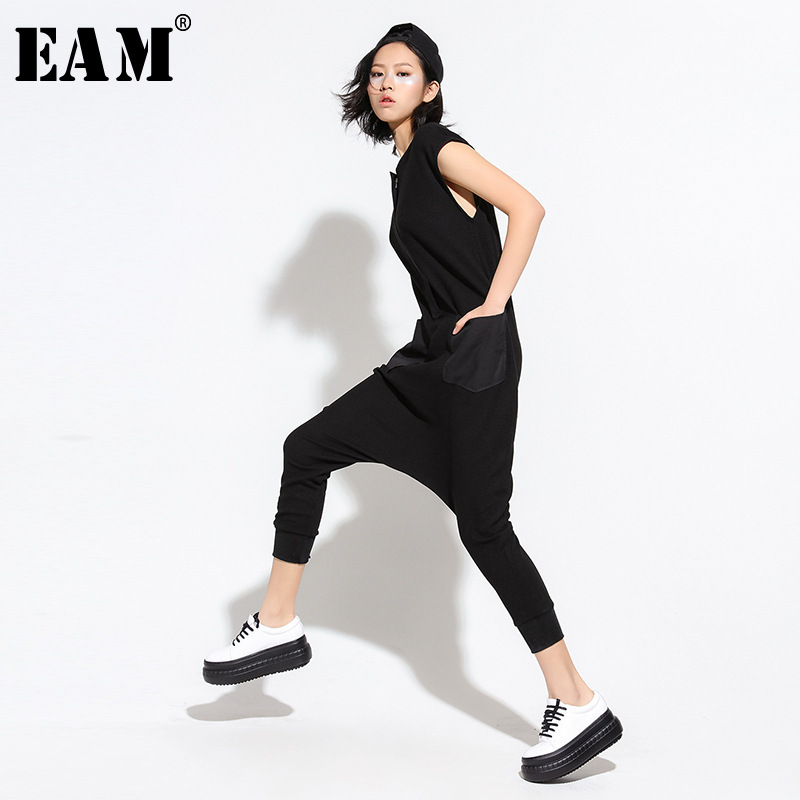 [EAM] 2019 New Summer Round Neck Sleeveless Black Loose Long Pocket Stitch Long   Jumpsuits   Women Fashion Tide All-match JL347