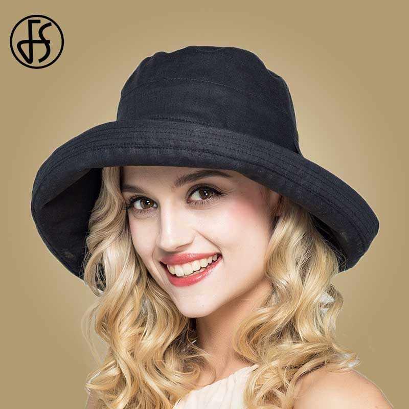 FS lato damskie bawełniane szerokim rondem kapelusze przeciwsłoneczne składane na co dzień Viseira Feminina moda słońce daszki ochronne wiadro kapelusz Chapeu Feminino