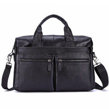 Lachiour Black Pu Leather Laptop Bag For 14 Inch Laptop 2