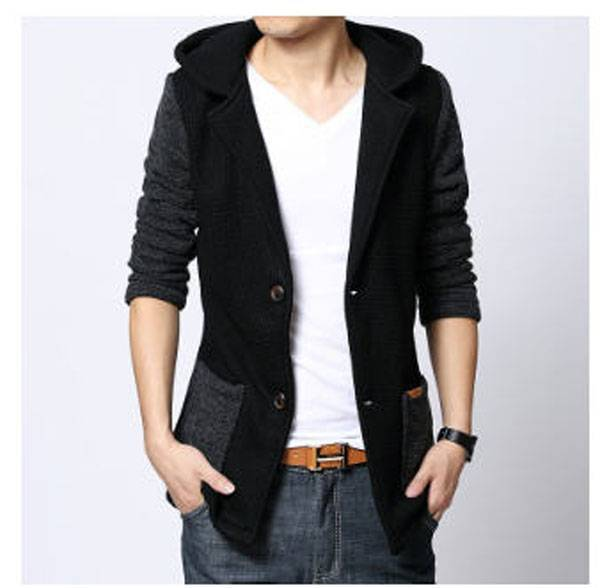 Mens jackets and coats latest man long section stiching casual hooded coat single breasted cotton parkas jaqueta masculina S767