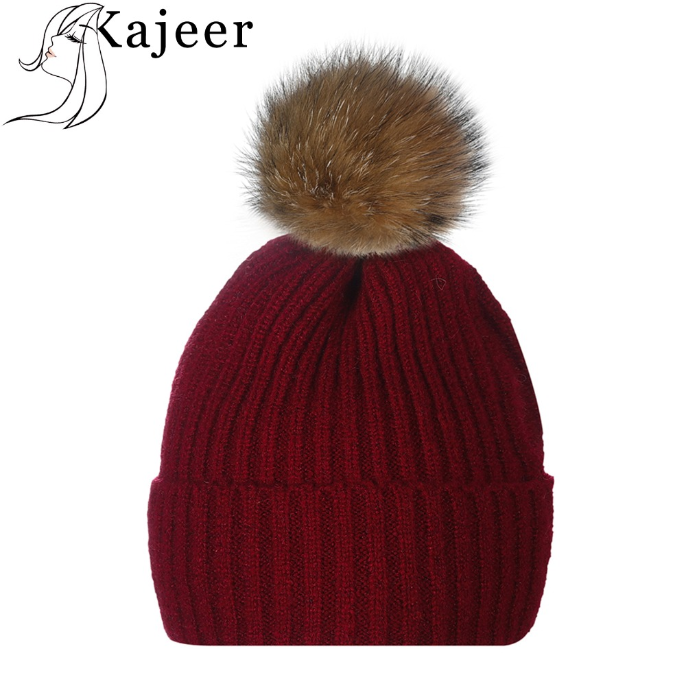 Kajeer Soft Knitting Thick Bonnet Warm Caps Solid Winter Hats for Women's Hat   Skullies     Beanies   Female Cap with Fur Ball