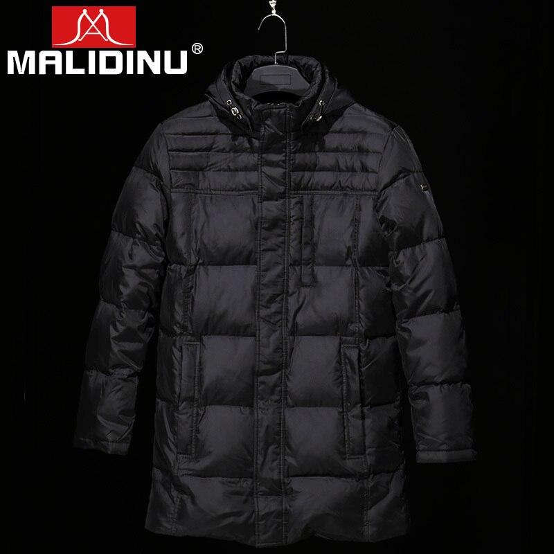 MALIDINU 2019 New   Down     Coat   Men Winter Warm Long Jacket High Quality   Down   Parka Duck   Down     Coats   Men Detachable Hood Russian Size