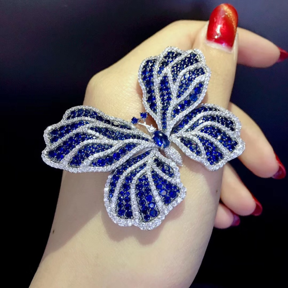Разноцветная синяя и белая брошь бабочка в виде насекомых, из стерлингового серебра 925 пробы с кубическим цирконием, модные женские украшен