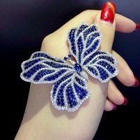 blue and white mixed color insect butterfly brooch 925 sterling silver with cubic zircon fashion women jewelry free shipping