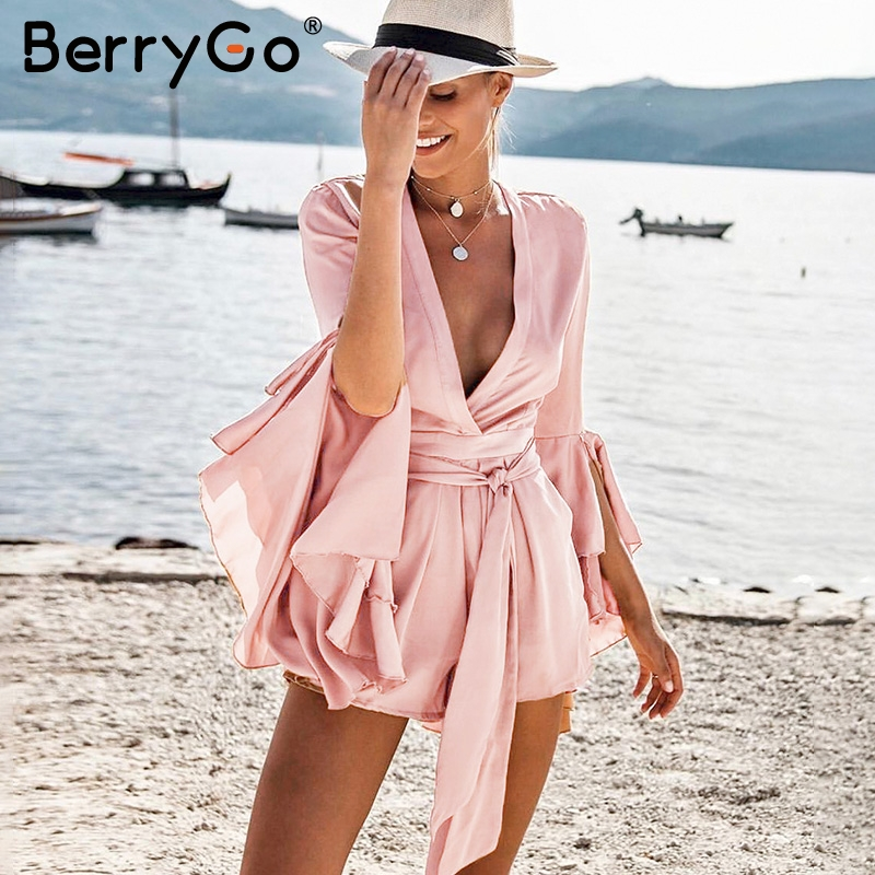 BerryGo Sexy v neck flare long sleeve playsuit High waist tie up pleated satin short romper 2018 Summer women jumpsuit
