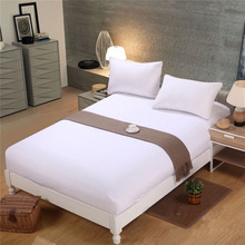 Bed Sheet With Pillowcase Solid Color Queen King Size Mattress Cover Fitted Sets Elastic Dust for hotel