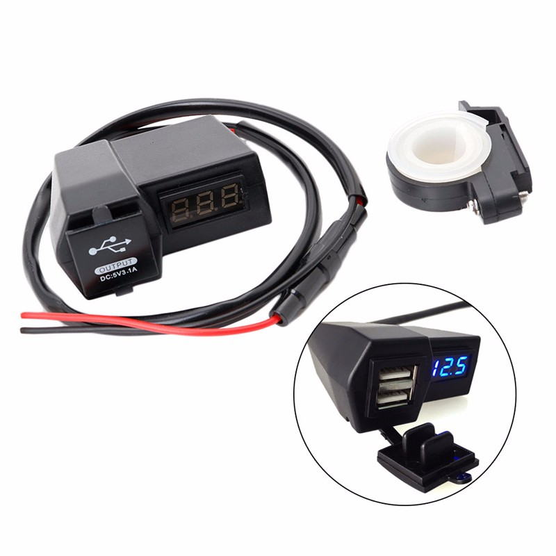 2018 New Motorcycle ATV GPS Cell Phone 2USB Power Socket Charger + LED Voltage Voltmeter Drop shipping