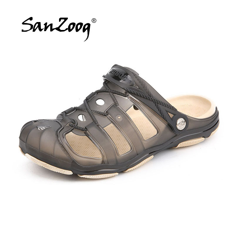 New Jelly Shoes Men 2018 Summer Beach Sandals Hollow Slippers Outdoor Slip On Beach Men Shoes Leisure Mens Sandals цена