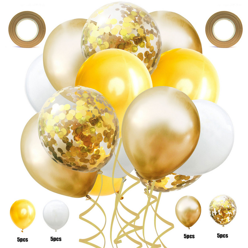 22pcs set 12inch Metal Color Clear Confetti Balloons Ribbon Set Wedding Decoration Birthday Party Latex Confetti Yellow Balloons in Ballons Accessories from Home Garden