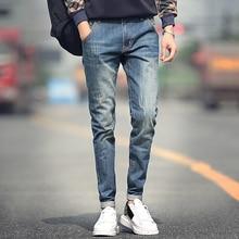 Новый дизайнер прямые джинсы моды для мужчин джинсы классические царапины тонкие джинсы мужчин высокое качество плюс размер 36 38