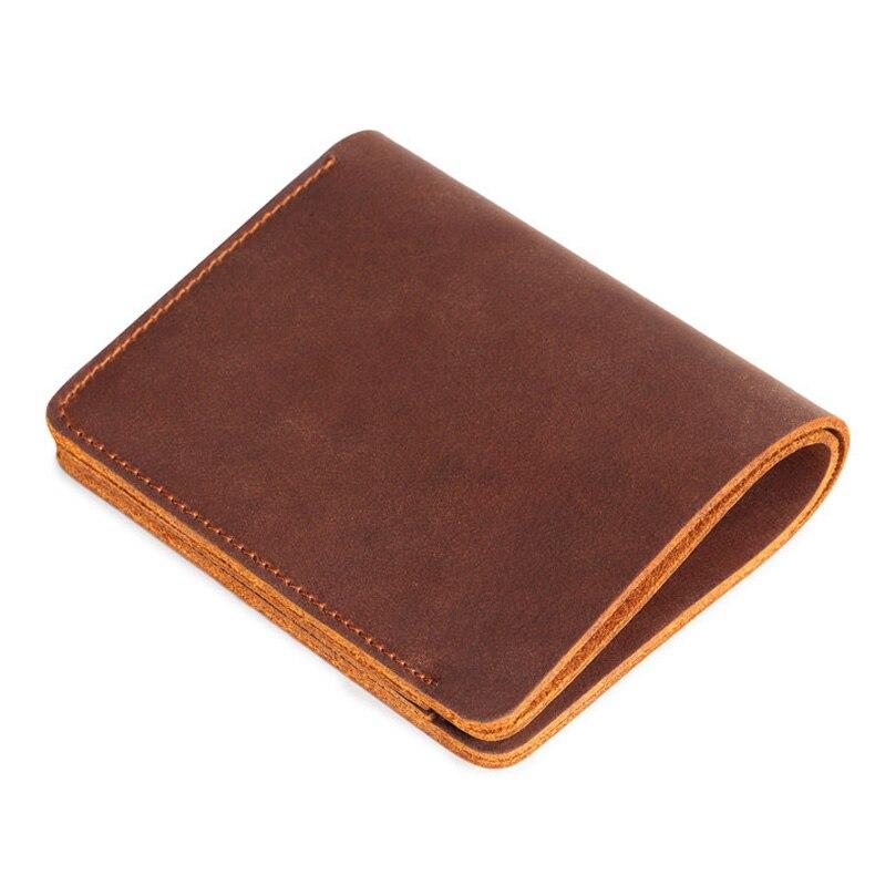 2018 רטרו גברים ארנק לגברים עור אמיתי ארנקי גברים מזדמן זכר ארנק כרטיס מחזיק Cowskin חום קטן ארנקי