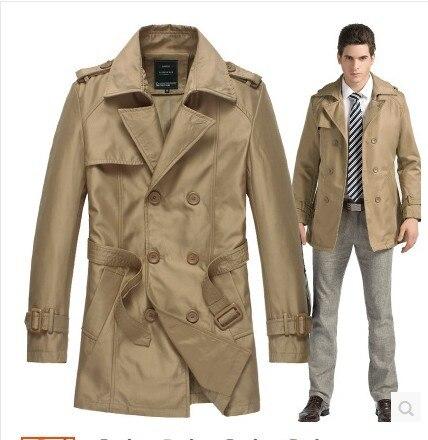Подгонянный высококачественный Британский тонкий двубортный мужской длинный плащ, Европейский тренчкот, куртка, Мужское пальто, Тренч - Цвет: Хаки