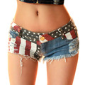 High Waist Shorts New 2016 Sexy Femmes Short Printed Drapeau Americanus Mini Jeans Hot Taille Basse Trou Lady Pantalon Court
