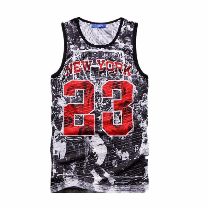 53aaa7f643028 High Quality Men Boys Summer Tops 3D New York 23 Letter Print Graphic  Sleeveless Vest Jordan