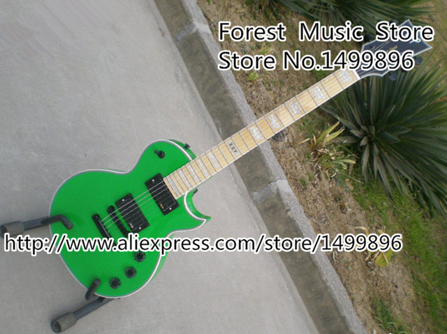 Cheap China Custom Maple Fingerboard ESP E-II Eclipse Electric Guitar In Green Color Left Handed Custom Available