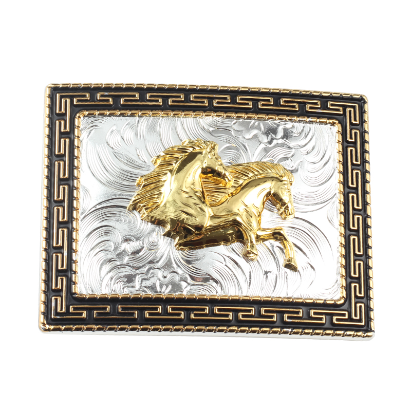 Increase Golden Horse Belt Agio Big Belt Buckle For 3.8 CM Width Of The Belt The Cowboys Of The West Alloy Belt Buckle