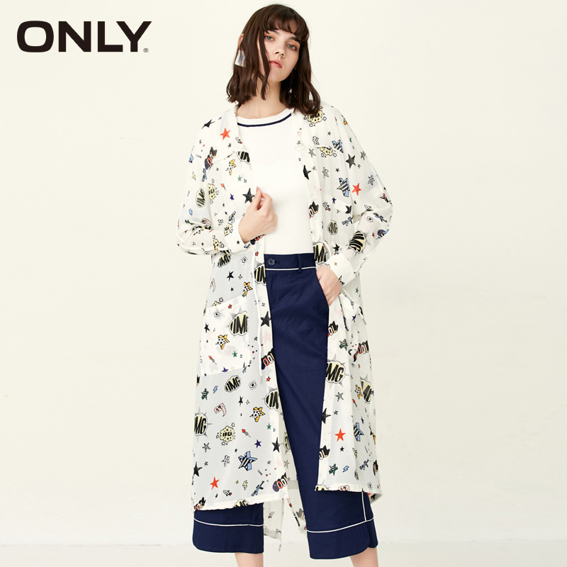 ONLY Brand 2018 NEW lace up loose print full sleeve street style long women   trench   coat |117236511