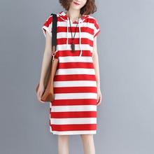 купить #0539 Women Hooded Dress Summer Fashion Ladies Sweatshirts Female Sleeveless Red White Striped Side Split T Shirt Dress Oversize по цене 950.26 рублей