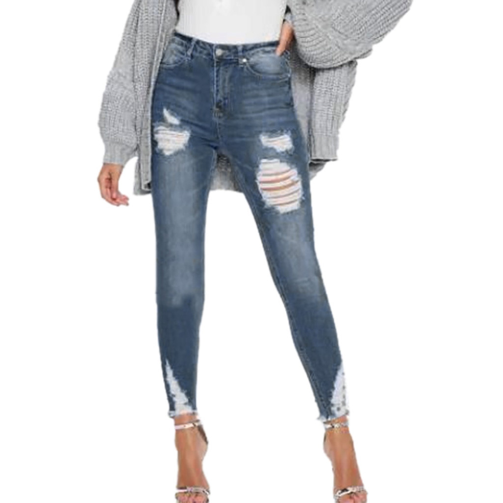 Fashion Womens Destroyed Ripped Distressed Slim Denim Jeans Fashion Stretch Jeans Low Waist Stretch Slim Sexy Pencil Pants Z430