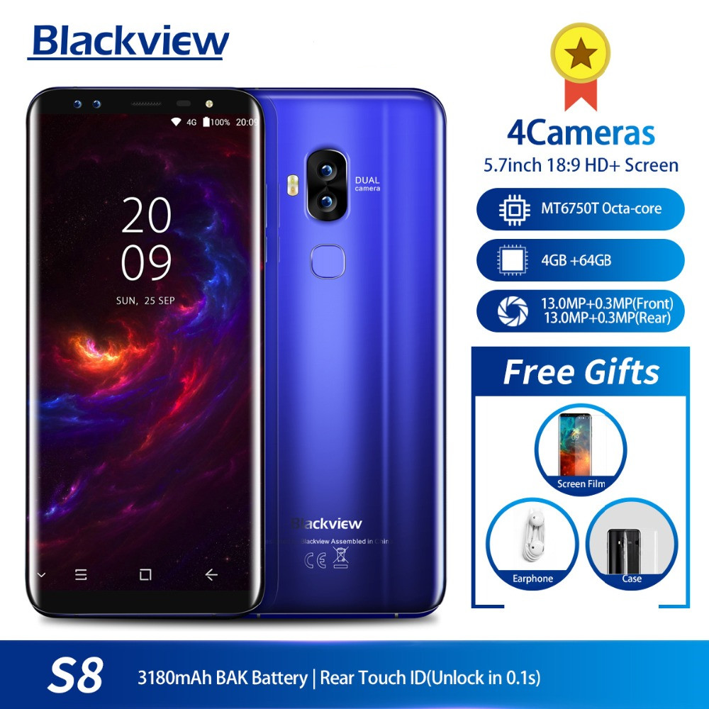 Blackview S8 5.7 18:9 HD Screen 4 Cameras MT6750T Octa Core Smartphone 4GB+64GB Dual SIM Fingerprint OTG 4G LTE Mobile Phone