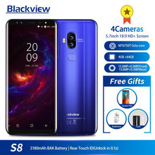 "Blackview S8 5.7 ""18:9 HD Layar 4 Kamera MT6750T Octa Core Smartphone 4GB + 64GB Dual Sim sidik Jari OTG 4G LTE Mobile Phone(China)"