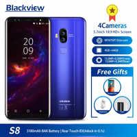 """Blackview S8 5.7 """"18:9 ekran hd 4 kamery MT6750T smartfon z procesorem ośmiordzeniowym octa core 4GB + 64GB Dual SIM odcisk palca OTG 4G LTE telefon komórkowy"""