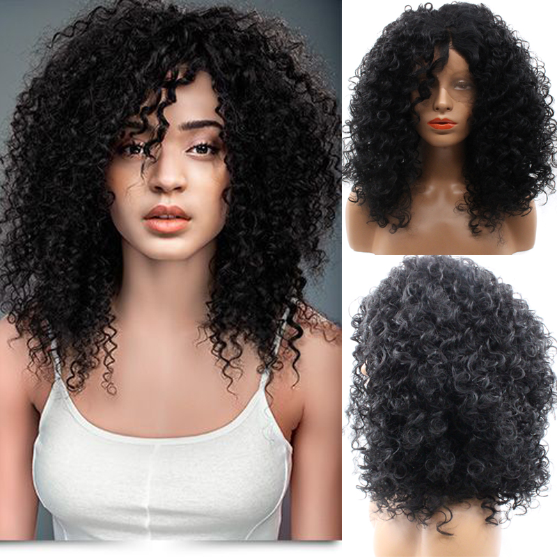 ФОТО African American Afro Wigs Synthetic Heat Resistant Lace Front Wig Afro Kinky Curly Lace Front Wigs Wholesale Hot Best Quality