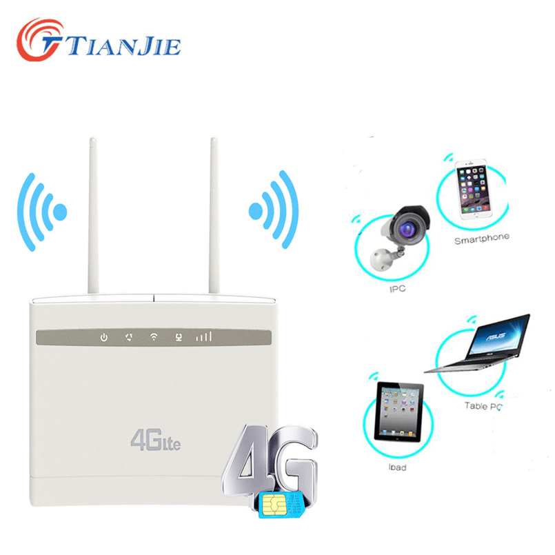 TIANJIE 4G LTE CPE Router Modem CAT4 Wifi Hotspot 4G LTE FDD LAN Ports&Sim Card Slot With 2 SMA Connector External Antennas