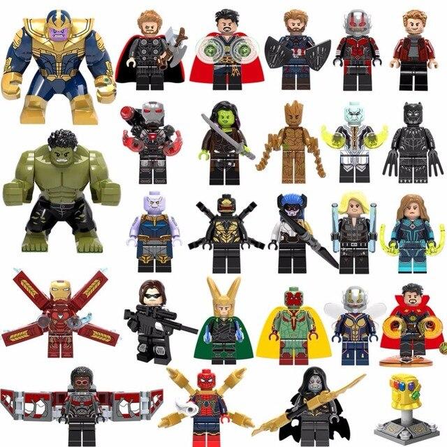 27 pçs/lote lEGOED Marvel Super Heroes Vingadores Thanos Hulk Homem de Ferro Do Homem Aranha Blocos De Construção De mini figuras brinquedos para presente de crianças
