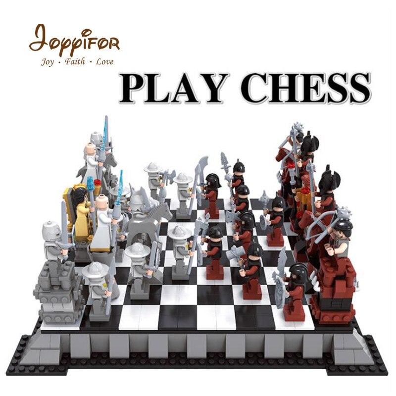 Joyyifor 1142 pcs 캐슬 시리즈 국제 체스 모델 빌딩 블록 조립 된 액션 피규어 어린이를위한 장난감-에서블록부터 완구 & 취미 의  그룹 1