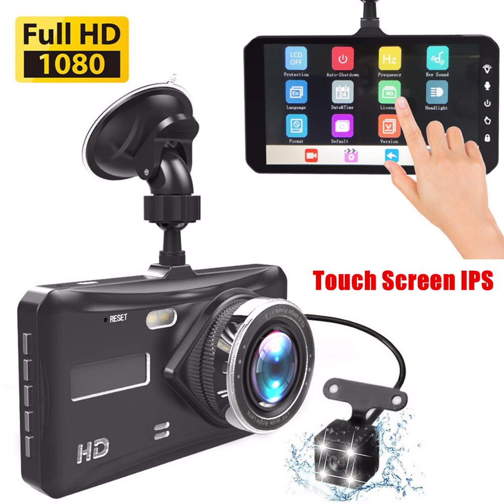 Регистраторы двойной объектив dvr автомобиля Full HD 1080p 4 сенсорный экран ips с резервным сзади камера ночное видение видео регистраторы парковк...