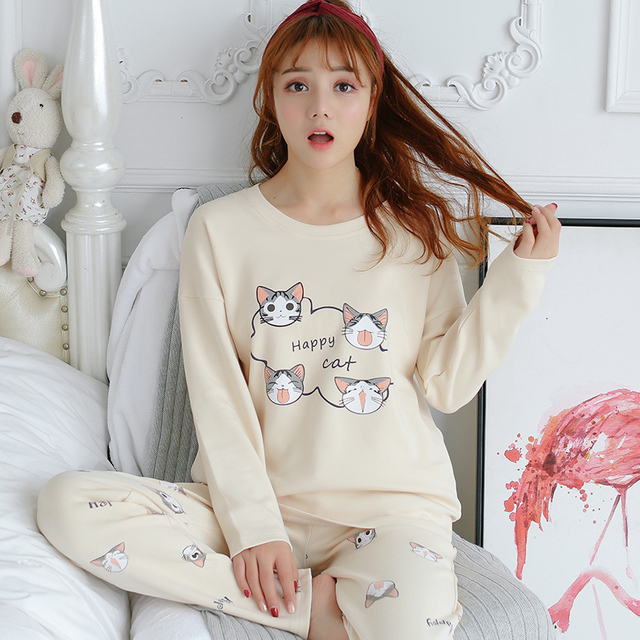 4997ceb73a Two Piece Set Sleepwear Cartoon Long Sleeve Cute Cat Print Top And Pants Pajama  Sets pijamas para mujer