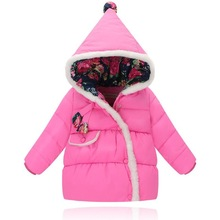 New 2017 Children Down Coats Infant Outerwear Winter Snow Wear Parkas Floral Hooded Down Jacket For Girls And Boys Winter Jacket