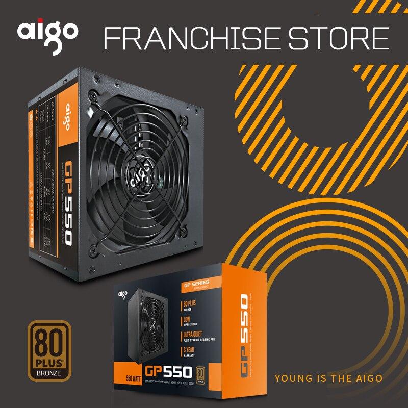 Aigo GP550 active alimentation Nominale power550W 80 80PLUS bronze alimentation 12 v atx pc ordinateur de bureau alimentation