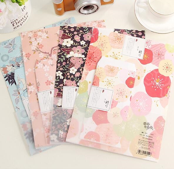 1pack/lot New Vintage Japan Fresh Foral style 3 Kraft paper Envelope + 6 Letter paper set office school supplies