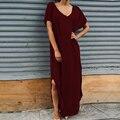 Zanzea mujeres de verano de algodón larga dress 2017 v neck dividir vestidos de fiesta maxi vestidos casuales de manga corta túnica más tamaño S-3XL