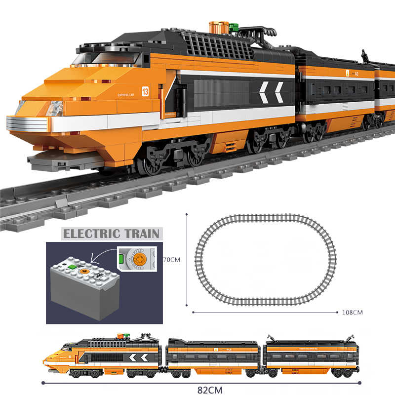Technic Battery Powered Electric Classic Compatible with Brand Train City Rail Creator Building Blocks Bricks Toys For kids Gift
