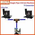 2 piezas/lote co2 máquina de chorro de dmx co2 jet cañón etapa efecto de luz 2 piezas Co2 jets compartir co2 tanque de gas con conector T