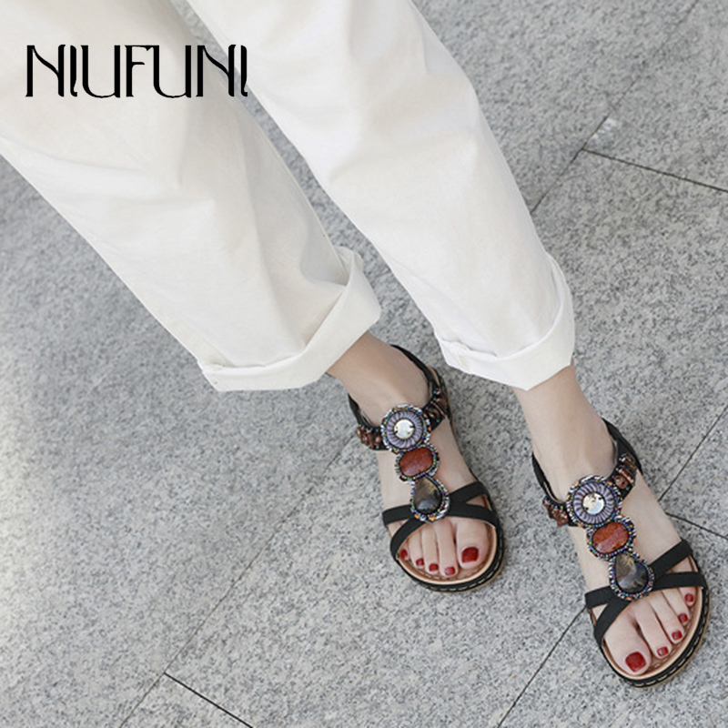 Fashion Embroidery Rhinestone Flat Shoes Plus Size New Women 39 s Sandals Low Heel Retro Soft Beach Female Slip Ons Casual Shoes in Low Heels from Shoes