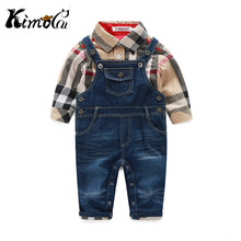 Kimocat new next baby boy clothes spring and autumn Cotton gentlemen's plaid shirts + Denim overalls