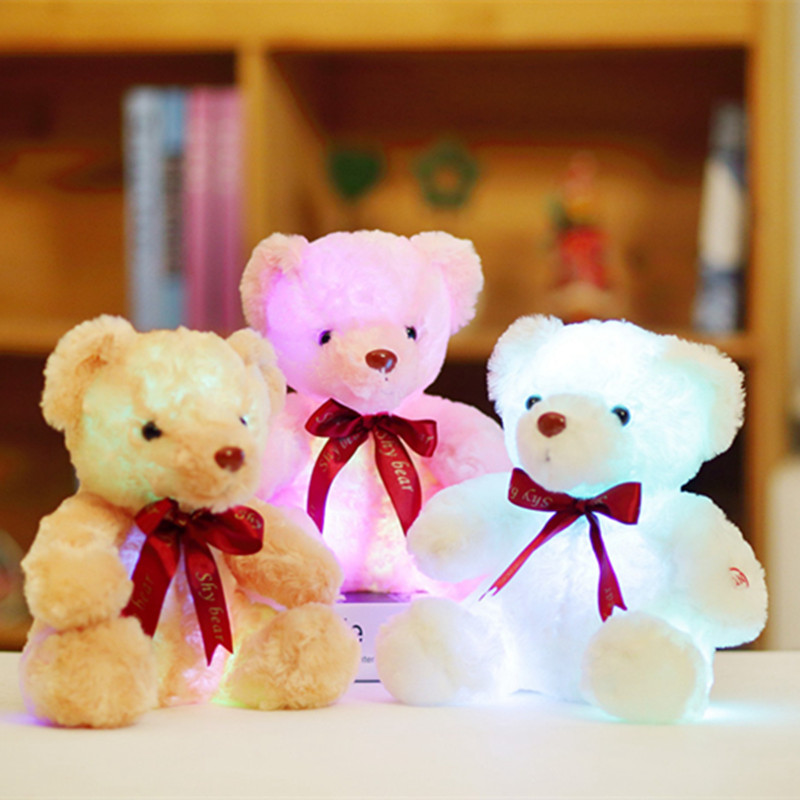 Sitting 25cm Kawaii Glowing Teddy Bear Luminous Led Light Plush Toys Lovely Staffed Bow Bear Dolls Kids Girls Birthday Gift